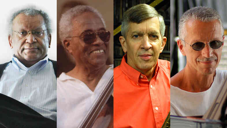 Clockwise from top left: Anthony Braxton, Keith Jarrett, Richard Davis, Jamey Aebersold.