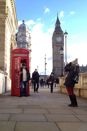 The most photographed phone booth in London sits in front of Big Ben. The number of beloved crimson