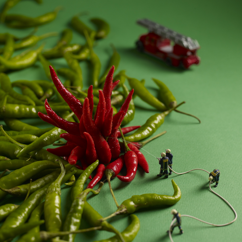 A blaze of fiery hot peppers.
