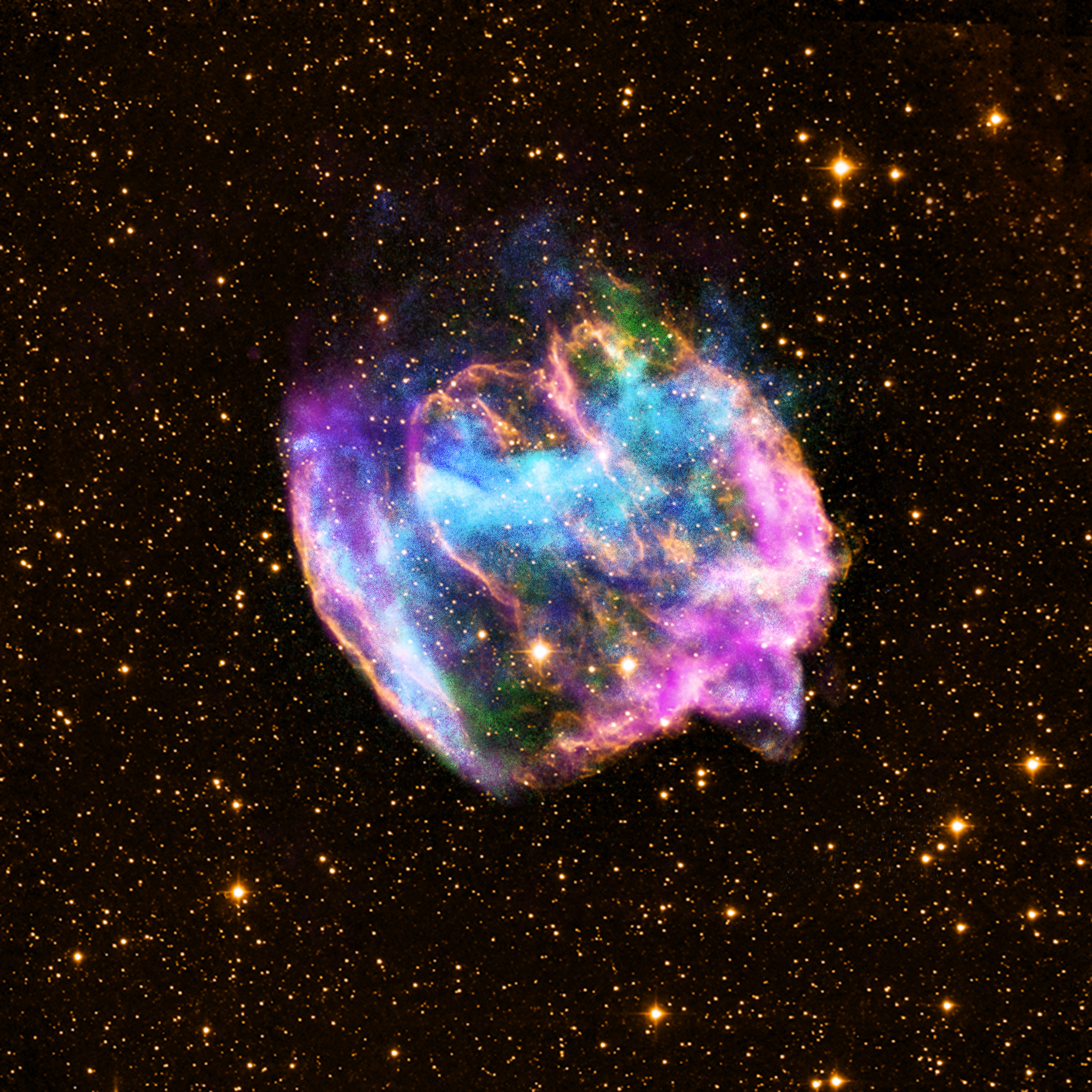 As a star's shell explodes outward, its core squeezes inward. The result can be a black hole or neutron star. This highly distorted supernova remnant, called W49B, may contain the most recent black hole formed in the Milky Way galaxy.