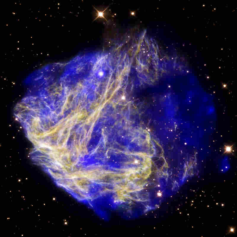 This supernova remnant, known as N49, is also located in the Large Magellanic Cloud. The star that created it exploded some 5,000 years ago.