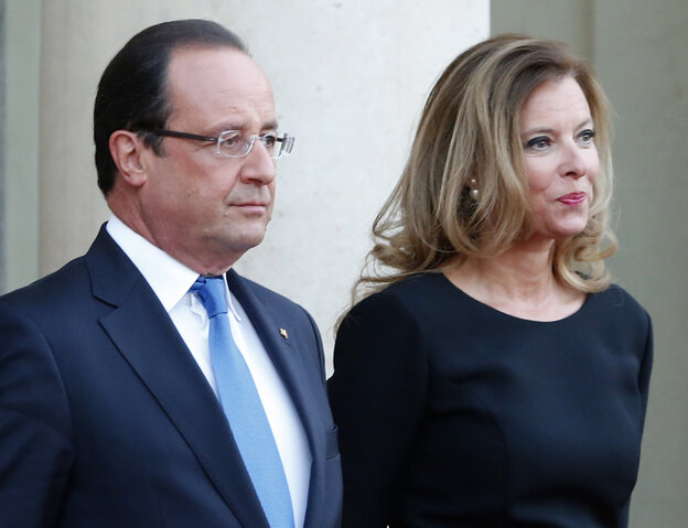 French president François Hollande and his companion Valerie Trierweiler.