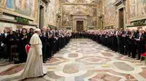 Pope Francis received applause from hundreds of worldwide ambassadors to the Holy See on Monday as he entered a huge hall in Vatican City.