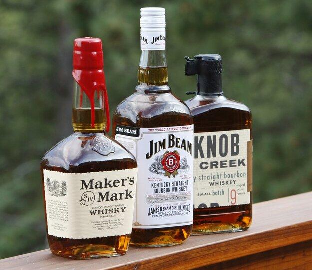 Three bourbon whiskeys.