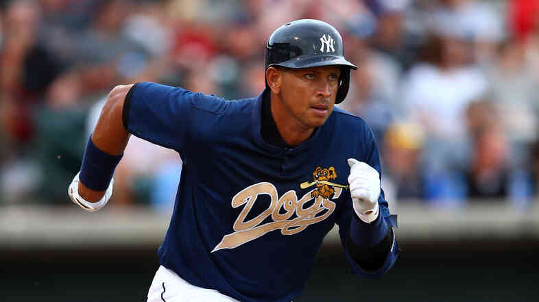 Alex Rodriguez of the New York Yankees, playing for the Yankees' minor league affiliate Charleston RiverDogs, runs to first