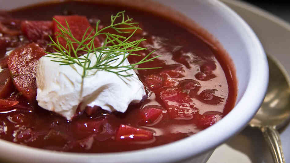 There are dozens of varieties of borscht — but at its most basic, it's a beet soup with potatoes, tomatoes and often beef or pork.