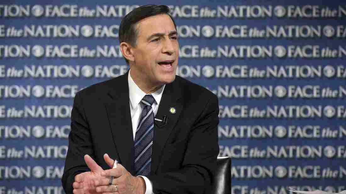 Rep. Darrell Issa, R-Calif., speaks on CBS's Face the Nation in Washington on Oct. 27. A new report lists Issa as the wealthiest member of Congress.