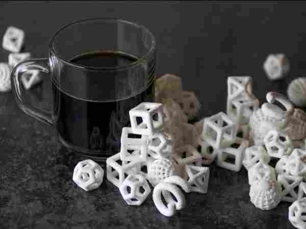 A mathematical twist on a cup of coffee: The ChefJet Pro 3-D printer spins sugar into intricate shapes to stir into your coffee or top your cupcakes.