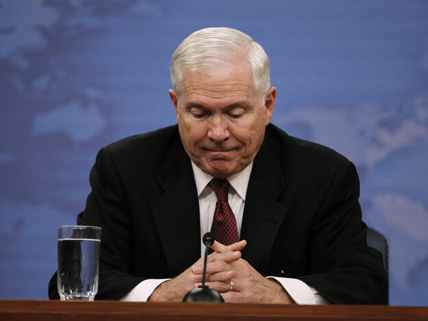 Robert Gates in June 2011 during his final official news conference as secretary of defense.
