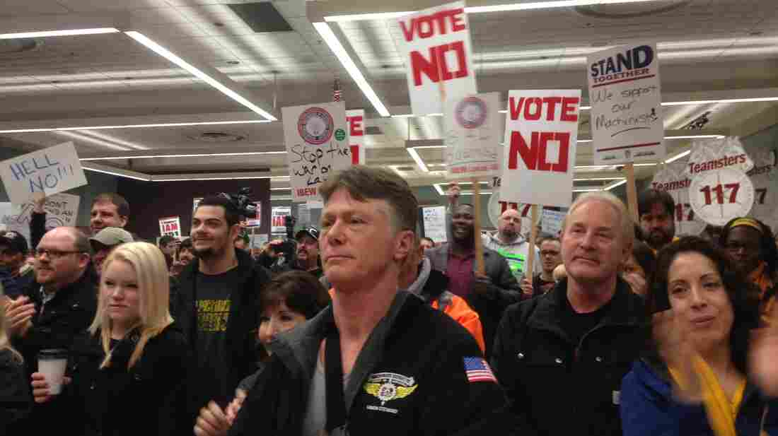 Boeing machinists and other supporters held a rally against the company's offer the day before the critical vote, which took place in early January.