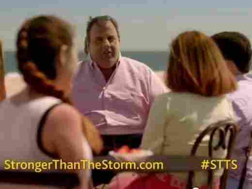 "New Jersey Gov. Chris Christie, center, in one of the ""Stronger Than The Storm"" ads aimed at bringing tourists back to his state after Hurricane Sandy."