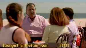 """New Jersey Gov. Chris Christie, center, in one of the """"Stronger Than The Storm"""" ads aimed at bringing tourists back to his state after Hurricane Sandy."""