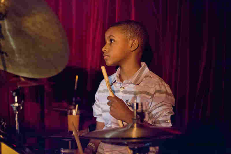 Drummer Kojo Odu Roney, 9, was a full-fledged member of the band led by his father, saxophonist Antoine Roney.