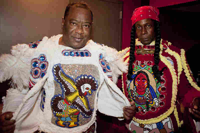 Mardi Gras Indians Shaka Zulu (left) and Leander Evans joined Big Chief Donald Harrison for his final songs.
