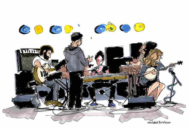 "The Wu-Force (Soundcheck): ""This is a warm-up drawing about warming up. I've known the visionary banjo player, singer-songwriter Abigail Washburn for a good while, having first met her at Joe's Pub where I draw a lot of performers, so it felt right to start the day with her and her current collaborators."" --Illustrator Michael Arthur"