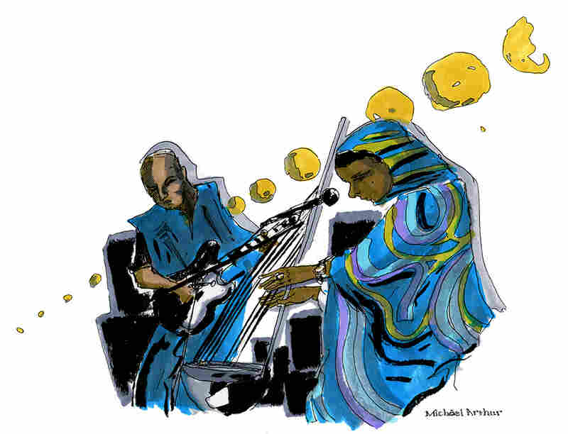 "Noura Mint Seymali: ""I really loved the way that the Ardine and the electric guitar blended together in Noura Mint Seymali's set. It was the perfect inspiration as I played with the colorful folds and patterns of Seymali's robes."" --Illustrator Michael Arthur"