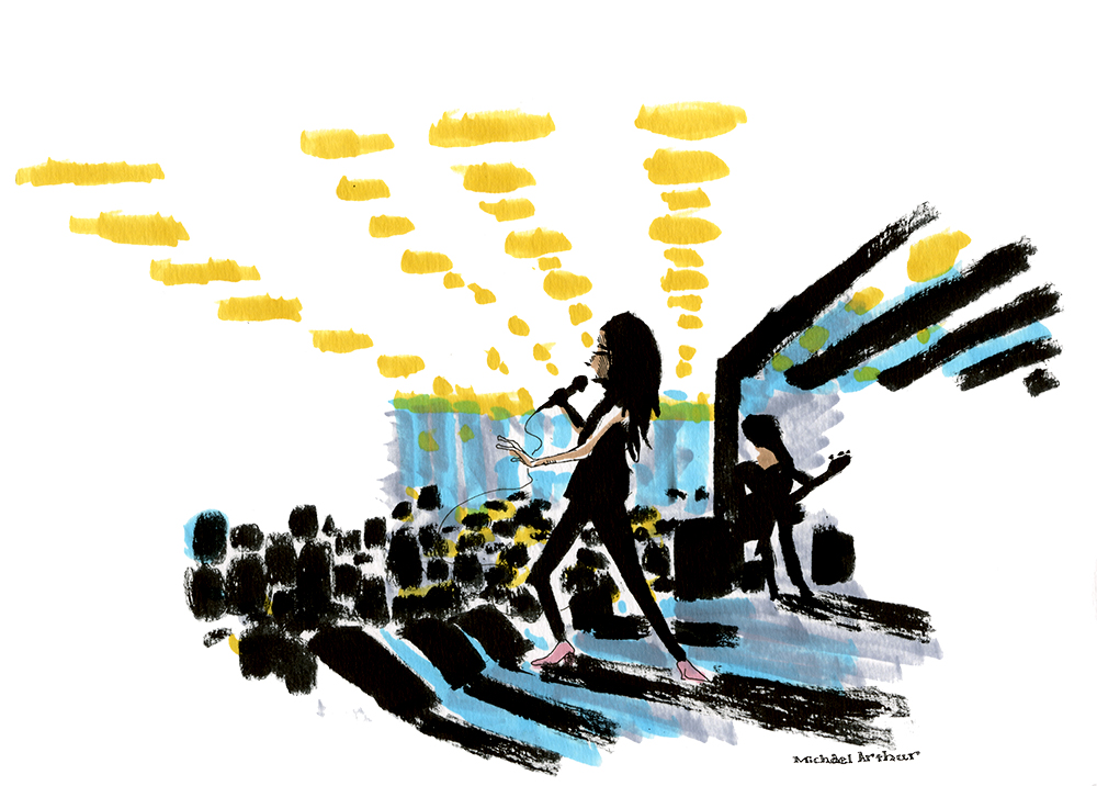"Yasmine Hamdan: ""Hamdan's music was more seductive than what I had been enjoying in the last couple of sets. I ended up on the side of the stage, watching the contrast of Hamdan's dark black hair and outfit and the small bits of color and light I could see in the room."" --Illustrator Michael Arthur"