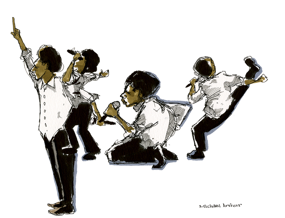"Baloji: ""This drawing began with the image of Baloji down on his knees. But when he rose and kicked his leg towards the horn section, I wanted to do more, so I embraced the challenge of trying to catch a few more of his moves in the drawing. When Baloji raised his hand and had the crowd do the same, it felt like the natural way to end the drawing."" - Illustrator Michael Arthur"