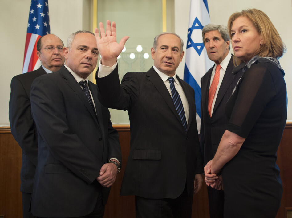 U.S. Secretary of State John Kerry, second right, stands with Israeli Defense Minister Moshe Yaalon, left, Minister of International Relations Yuval Steinitz, second left, Israeli Prime Minister Benjamin Netanyahu, center, and Minister of Justice Tzipi Livni at Netanyahu's office on May 23, 2013, in Jerusalem. (Uriel Sinai/UPI /Landov)