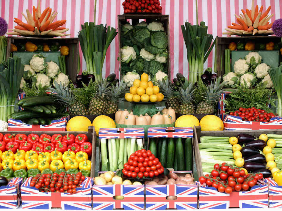 The U.K. has plenty of fresh produce available, such as these vegetables on display at a garden show in Southport, England. But these healthy options cost more in the U.K. than in any other country in Western Europe.