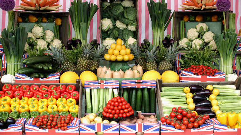 The U.K. has plenty of fresh produce available, such as these veg