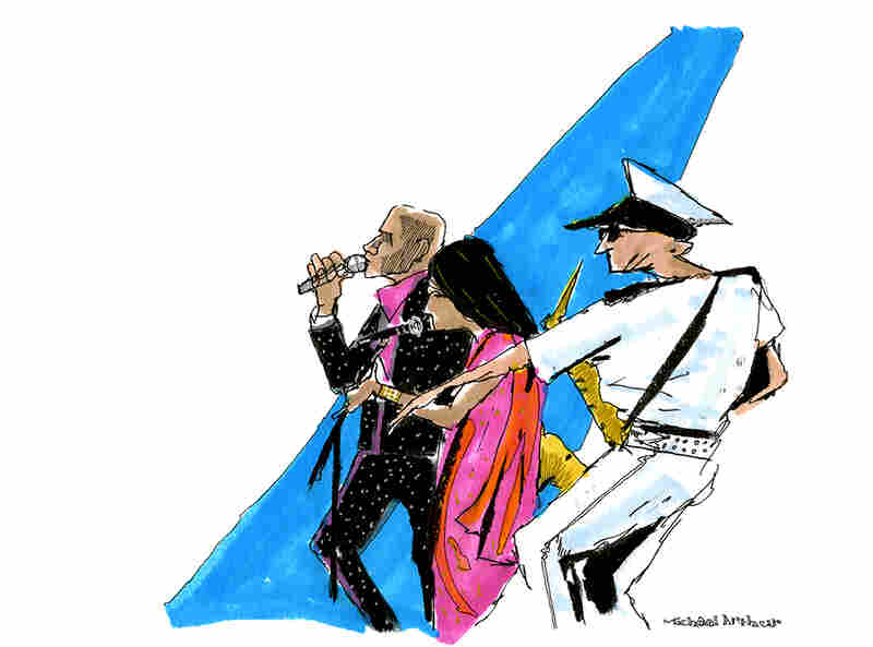 "The Bombay Royale: ""When I started this sketch, I was watching the way the saxophonist had his arm outstretched. I built the drawing around that gesture. I should add that musicians wearing great costumes make my work a lot more fun."" --Illustrator Michael Arthur"
