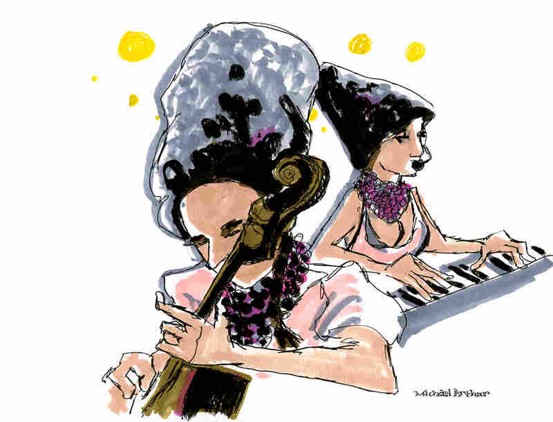 "DakhaBrakha: ""I was struck by the cello player nearest me at stage left (and the amazing Cossack-like hats they all wore) and gave myself the challenge of capturing her face and the relationship she had to her instrument. This is a drawing that, for me, really flowed from the music."" --Illustrator Michael Arthur"