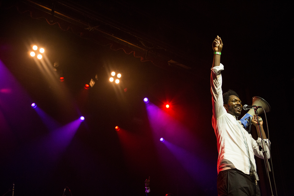An exultant Baloji had the globalFEST crowd wrapped around his finger with his trademark mix of lilting soukous and Congolese rumba, the swagger and sweat of American soul, and the trenchant commentary of hip-hop.