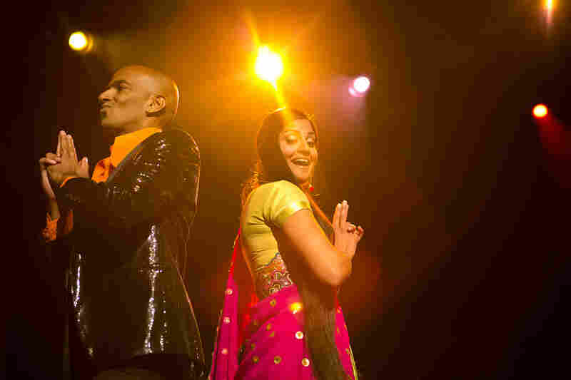 Vocalists Shourov Bhattacharya and Parvyn Singh from The Bombay Royale, performing live during globalFEST at Webster Hall in New York City on Jan. 12, 2014.