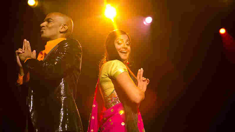 Vocalists Shourov Bhattacharya and Parvyn Singh from The Bombay Royale, performing live Sunday during globalFEST at Webster Hall in New York City.