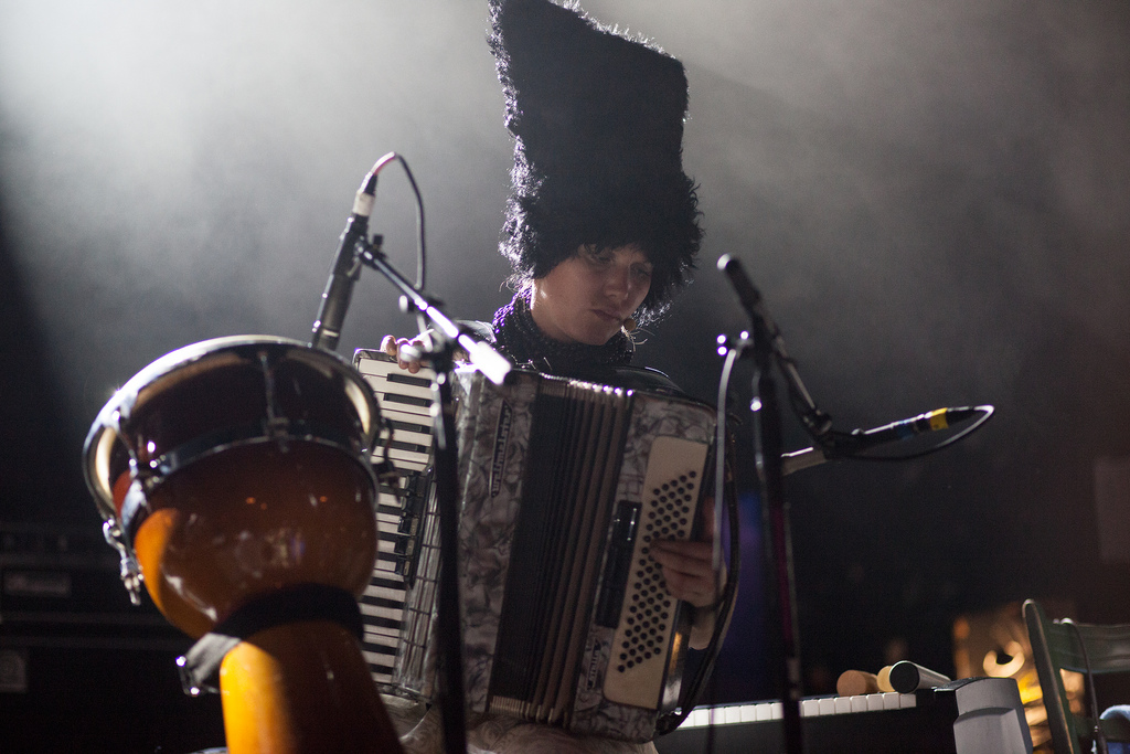 While the roots of the band's music lie in old Ukrainian folk songs, DakhaBrakha incorporates many sounds in its sets, from closely harmonized, Balkan-style vocals to African-influenced drumming.