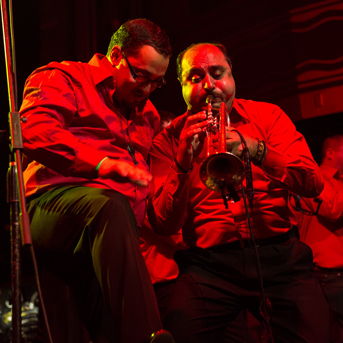 Members of Romania's Fanfare Ciocarlia perform a blazing set during globalFEST at New York City's Webster Hall on Jan. 12, 2014.