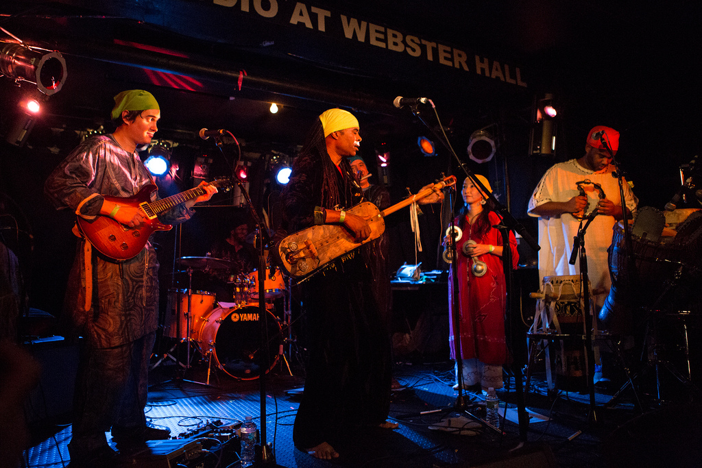 Hakmoun's band blends traditional Gnawa music -- itself a hybrid of North and sub-Saharan styles -- as well as artful shadings of jazz and rock.