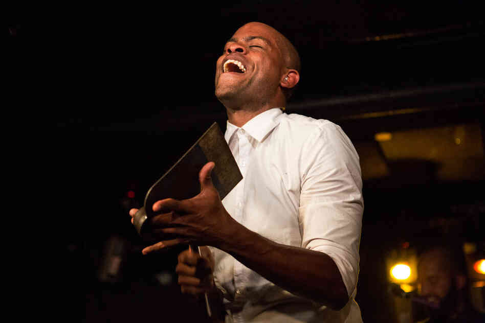 Roël Calister, the group's bandleader, plays the metal hoe called the chapi, which has become a popular percussion instrument on the Caribbean island of Curaçao.