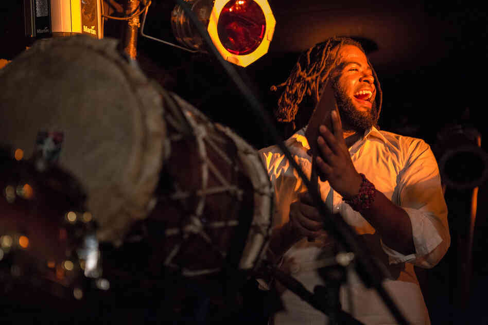 "Percussionist Vernon Catlein from KiT, whose name stands for ""Kuenta i Tambu"" — ""Stories and Drums"" in the Antillean language of Papiamentu."
