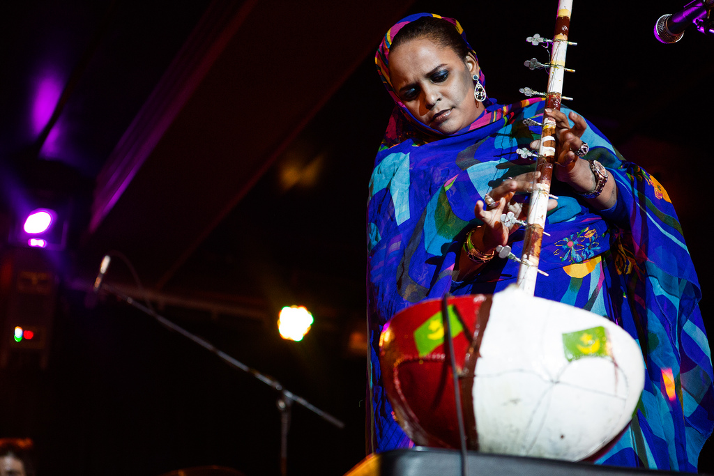 During her shows, Seymali plays an amplified ardine: a harp-like stringed gourd instrument akin to the West African kora.