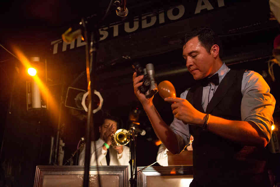 Mendoza's concept is a band that meshes 1950s-style mambo with psychedelic cumbia and a romantic Mexican style — all expertly delivered with stop-on-a-dime timing.