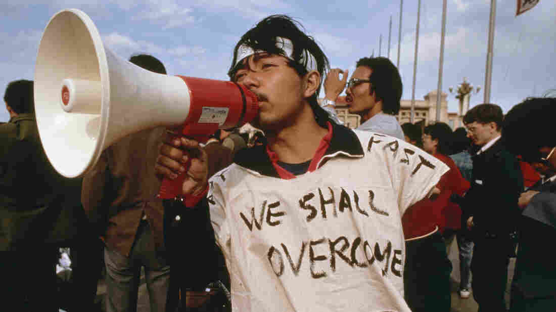 A Chinese student at the 1989 Tiananmen Square protests, where speakers playing Beethoven's Ninth Symphony were rigged up to drown out government broadcasts.
