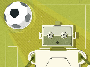 Maria Fabrizio's illustration of: Peter Stone Can't Get Enough Of Robots Playing Soccer