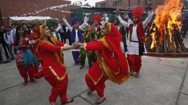 Dancers perform near