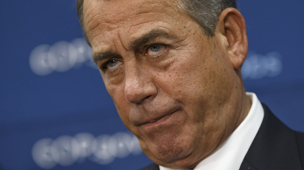 House Speaker John Boehner and GOP leaders face reporters on Capitol Hill in Washington, on Tuesday. (AP)