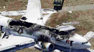 A view from above of the wreckage after Asiana Flight 214 crashed at San Francisco International Airport on July 6, 2013.