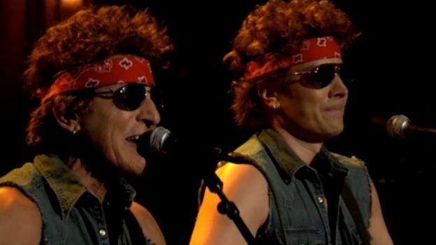 """Bruce Springsteen (left) and Jimmy Fallon doing their """"Gov. Christie Traffic Jam."""" (Late Night With Jimmy Fallon blog)"""