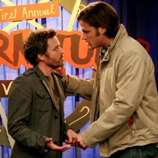 Jared Padalecki plays Sam Winchester (right), one of the stars of the series Supernatural. The Winchester brothers also star in the series-within-the-series, which is --�� meta alert! --�� also called Supernatural. Here, Sam talks to the (fictional) series author at a (fictional) convention for (fictional) rabid fans.