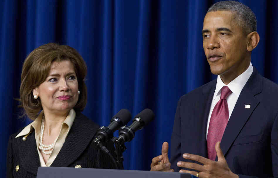 President Barack Obama announces he will nominate Maria Contreras-Sweet, left, founder and board chairman of a Latino-owned community bank in Los Angeles, as the head of the Small