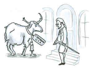 Thomas Jefferson's sad moose arriving at a Parisian home.
