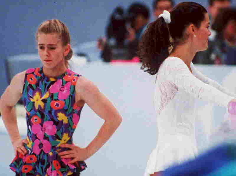 Tonya Harding and Nancy Kerrigan avoid each other during a training session for the 1994 Olympics.