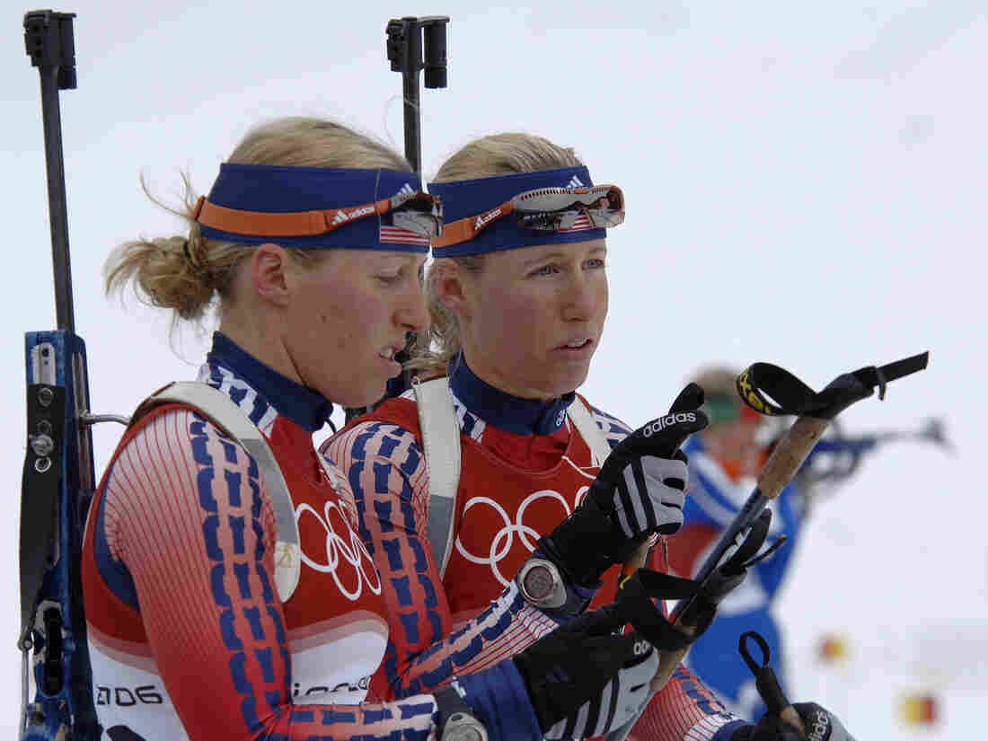 Lanny and Tracy Barnes at a practice session for the women's 75-kilometer biathlon sprint during the 2006 Winter Olympics in Turin, Italy.