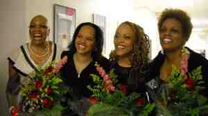 Backstage at the Kennedy Center tribute concert to Abbey Lincoln, left to right: Dee Dee Bridgewater, Terri Lyne Carrington, Cassandra Wilson, Dianne Reeves.
