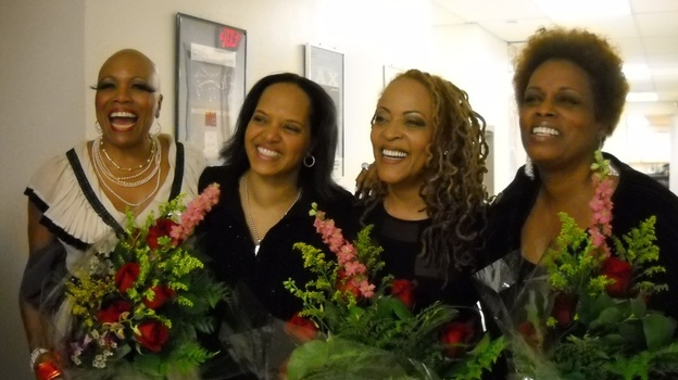 Backstage at the Kennedy Center tribute concert to Abbey Lincoln, left to right: Dee Dee Bridgewater, Terri Lyne Carrington, Cassandra Wilson, Dianne Reeves. (WBGO)